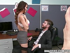 Office harassment training turns titty fucking & BJ session