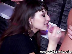 Sexy real babes at party sucking