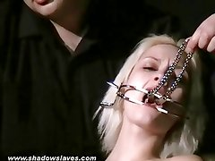 Blonde submissives bizarre facial torture and gagged slave