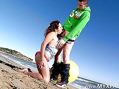 French pornstar Charlotte ass fucked on the beach