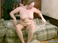 Tied in plastic wrap and nipple play