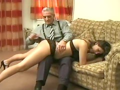 Spanking and caning by old man