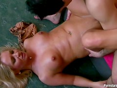 Lovely blonde pounded by long cock