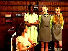 Schoolgirls arrive for an ass spanking