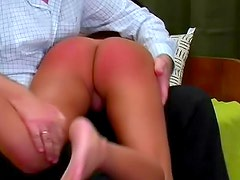 She writhes during ass spanking