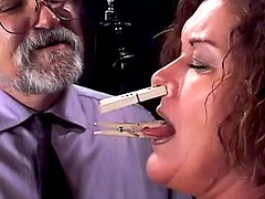 Mature BBW tit torture and pain