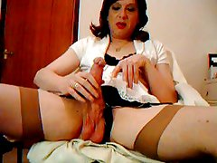 transvestite retro stockings cock and ball play