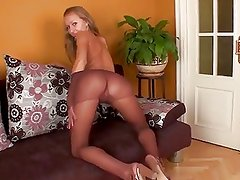 Perky Tits Teen Shows Off Her Pantyhose