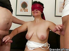 Hot threesome orgy with old bitch