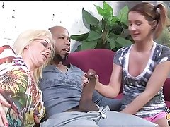 Old mom stuffed by black cum in front of daughter