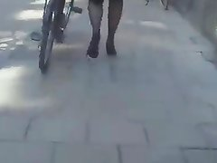 Swedish stockings heels walking bicycle