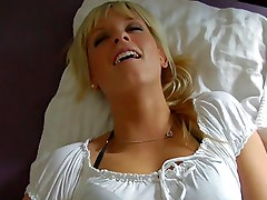 Lovely German blonde takes all the milk in spurts