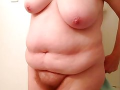 my wife drying her soft body, hairy pussy, tittys & belly.