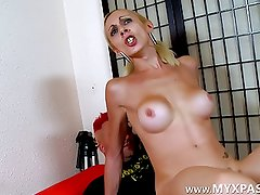 A blonde who has balls between her legs!