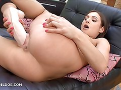 Gorgeous babe fucking a brutal dildo in HD