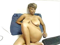 Ebony with Big Saggy Tits on Cam by TROC