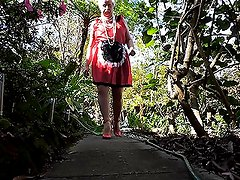 Sissy Ray in Red and Black maids uniform