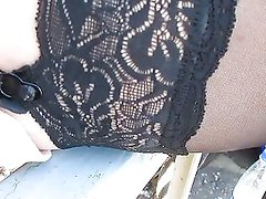 Stockings upskirt on a train station 2