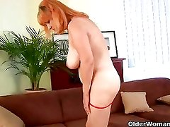 Busty granny loves toying her old and hairy pussy