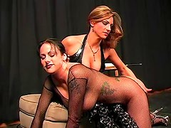 In fishnets the girl submits to dominatrix