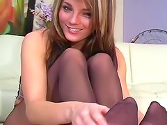 Charlie Laine JOI in sheer pantyhose