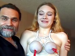 He ties up her sexy natural tits