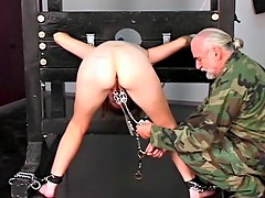 Chubby military girl abused in dungeon