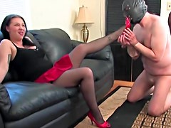 Mistress in skirt kicks both their balls