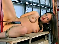 After bad abuse she toys fucks pussy