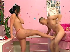 Kicked in the balls by babe that blows him