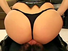 Curvy leather boots girl rides his face