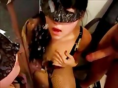Masked Beauty Licks Cum Off Of A Mirror