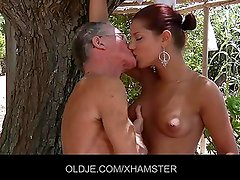 Sexy Angel Rivas sucks 2 old cocks and then get ass fuck