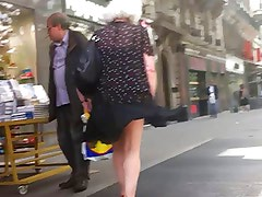 Windy upskirt 3 - Granny purple pantie