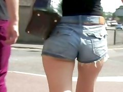 Teenage ass in skin tight denim shorts