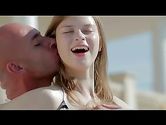 beautiful girl with pale skin gets fucked by the pool