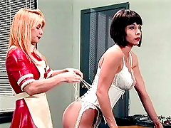 Nurse mistress gives an enema to her slave patient