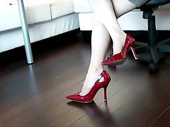 4 inched heels in red