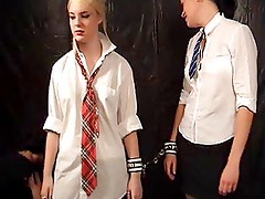 Schoolgirl with collar up gets disciplined and messy