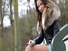 Belgium Teens smoking in miniskirt & dangling high heels