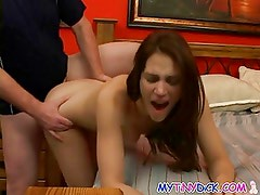 Sexy college chick in bed with tiny dick guy