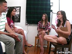 Two gorgeous brunette chicks toy themselves and ride big dicks