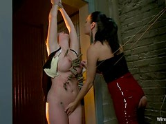 Blonde Devon Taylor gets tied up, whipped and toyed rough