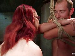 Claire Adams Redhead Vixen Playing with Guy in Bondage Pegging Femdom