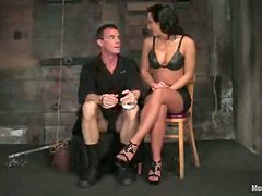 Naughty Sandra Romaing Having Fun with a Submissive Guy in Femdom BDSM