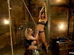 Aiden Starr destroys Tia Ling's holes in amazing BDSM clip