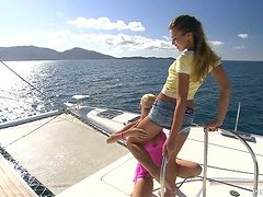 Hot group sex on the boat with Olivia And Tarra