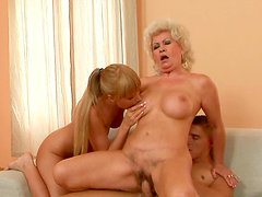Sex-starved granny with big tits participates in FFM threesome