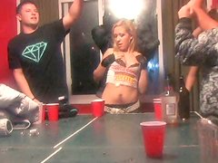 Insane college chics dance and kiss each other wearing nothing but lingerie