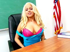 Spoiled blonde Barbie doll is giving tremendous blowjob in the lesture room